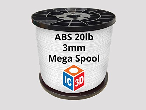 IC3D Natural 3mm ABS 3D Printer Filament Mega Spool (20lbs) - Dimensional Accuracy +/- 0.05mm - Professional Grade 3D Printing Filament - MADE IN USA by IC3D