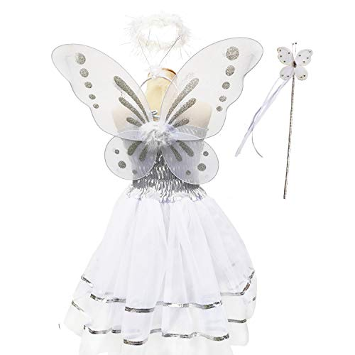 Danballto Angel Wings and Halo Headband for Cosplay Party Costumes Girls Butterfly Fairy Costume Wings for Kids Pretend Play Dress up(White, M)