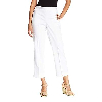 Alfred Dunner Women's Petite Clean Front Back Elastic Slim Leg Pant: Clothing