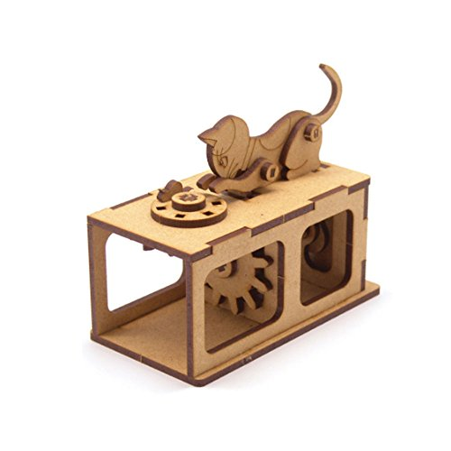 Cheap  Mize DIY Wooden Automata Assembly Model kits (Moving Cat Chasing Mouse) Mechanical..