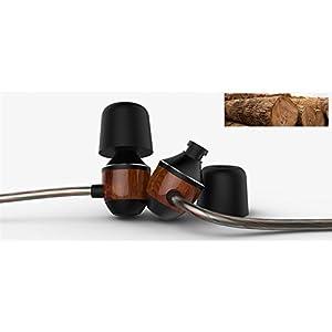 VJJB Earbud Stereo Noise Cancelling Bubinga Cavity Wired Earphones Built-in MIC Corded Headphone HIFI Deep Bass Sweatproof Waterproof Earpiece Fits All Music Devices-Bubinga