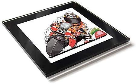 Kool tipo de dibujos animados MotoGP Dani Pedrosa Pitufo Honda España mesa de cristal Posavasos con caja de regalo: Amazon.es: Hogar