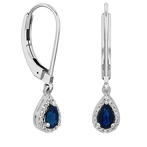 Dazzlingrock Collection 14K 5X3 MM Pear Blue Sapphire & Round Diamond Ladies Halo Style Dangling Drop Earrings, White Gold ()