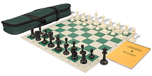 Master Series Carry-All Plastic Chess Set Black & Ivory Pieces with Green Roll-up Chess Board & Bag