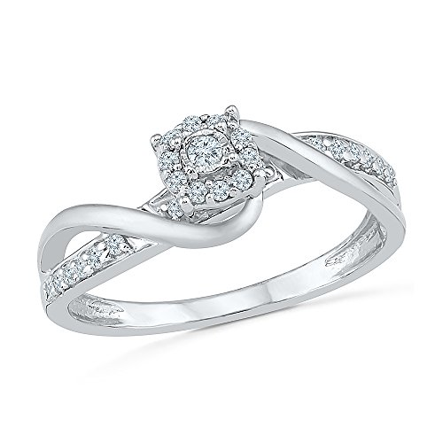 2 Full Diamond - Sterling Silver & 10KT Two Tone White Round Diamond Fashion Ring