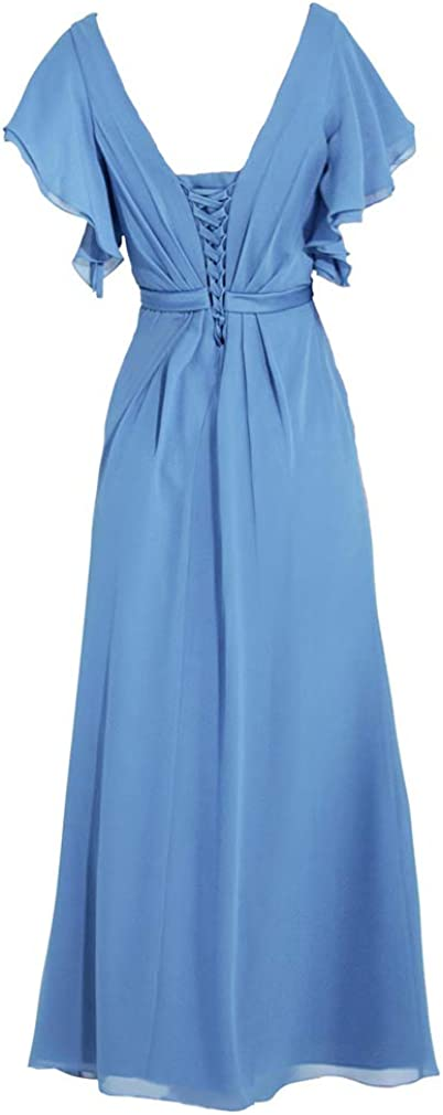 ANGELWARDROBE Women V Neck Bridesmaid Dresses Long Evening Party Prom Gown with Flutter Sleeve