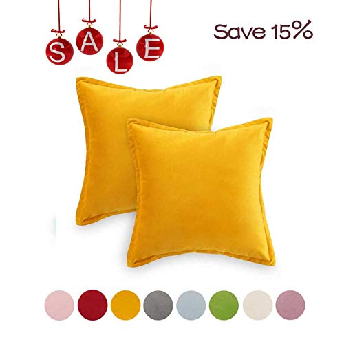Loom & Mill 2-Pack Throw Pillow Covers, Luxury Velvet Pillow Cases Comfortable Soft Pillow Shams Couch Cushion Cover with Zipper Hidden - (20 x 20 Inch, Yellow)