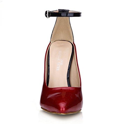 Les conseils Wine boîtes talons verni vin nouvelles chaussures de en avec femmes rouge de de dîner hauts seules red fer cuir aHqfar