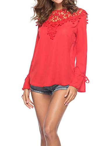 Longues Automne Shirt pissure Rouge T Manches Casual Shirts Haut et JackenLOVE Dentelle Chemisiers Printemps Tops Col Mousseline Rond Femmes Blouses Mode xqUE1Bgw