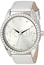 FCUK Women's FC1012S Over-Sized Round Glossy Silver Watch