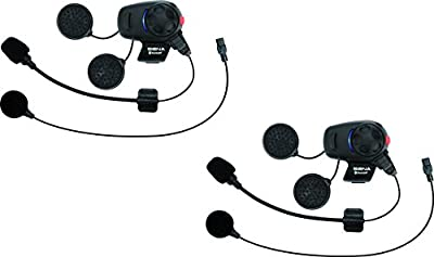 Sena Bluetooth Headset and Intercom for Scooters/Motorcycles with Universal Microphone Kit (Dual Pack) by Sena