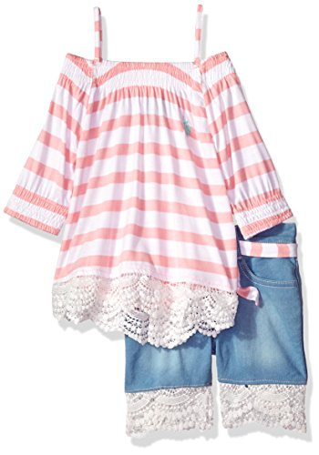 U.S. Polo Assn. Girls' Toddler Fashion Top Set, Striped Jersey Lace Trim Midi Short Multi, 3T