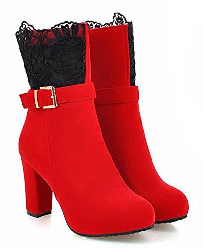 Chfso Kvinners Elegant Solid Runde Toe Med Spenne Blonder Glidelås Høye Chunky Hæl Plattform Boots Red