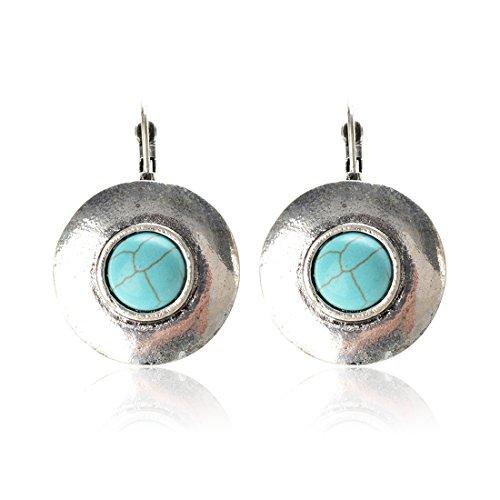 Tagoo Women's Sliver Alloy Retro Style Round Turquoise (Turquoise Round Earring)