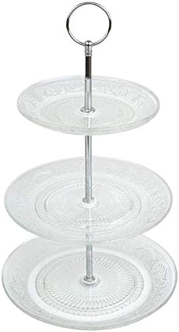 Y/öL 3 Tier Cake Stand Glass Muffin Cupcake Embossed Afternoon Tea Serving Platter