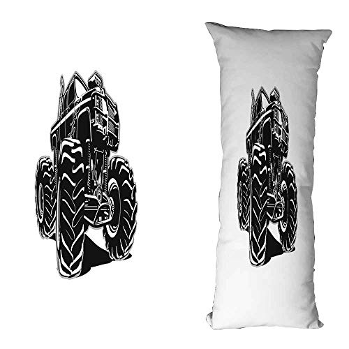 duommhome Truck Fashion Pillowcase Modified Automobile Monochrome Sketch Pattern Monster Pickup Truck Off Road Vehicle Without core W15.7X L39.3 inch Black -