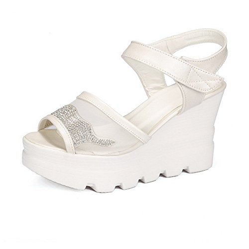 AllhqFashion Women's High Heels Soft Material Solid Hook-and-loop Peep Toe Sandals White UEacB1oGRQ