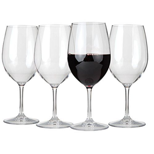 (Lily's Home Unbreakable Cabernet and Merlot Bordeaux Red Wine Glasses, Made of Shatterproof Tritan Plastic, Ideal for Indoor and Outdoor Use, Reusable and Dishwasher-Safe, Crystal Clear (20 oz. Each, Set of 4))