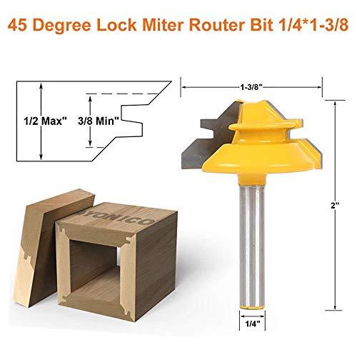 45 Degree Lock Miter Router Bit, Tungsten Woodworking Cutter, 1/4