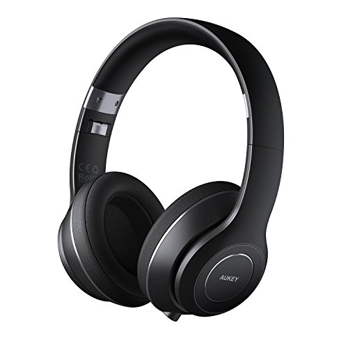 AUKEY Bluetooth Headphones, Foldable On-Ear Wireless Headphones with 18-Hour Playtime and Built-in Microphone for iPhone, Samsung, PCs, and More