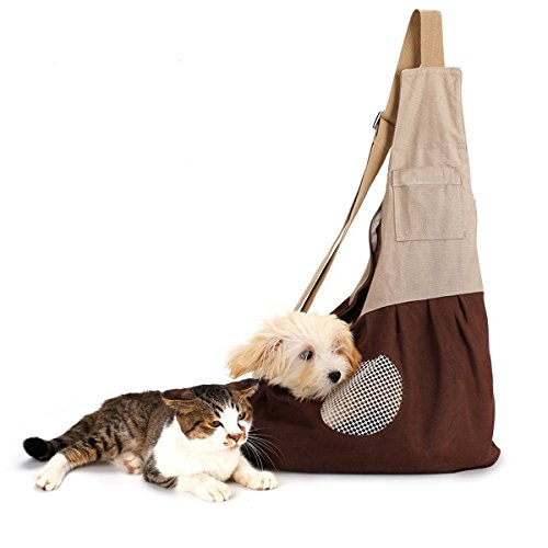 GrayCell Hands Free Pet Sling Carrier Puppy Purse Shoulder Bag with Adjustable Strap for Small Dogs and Cats up to 9 lb…
