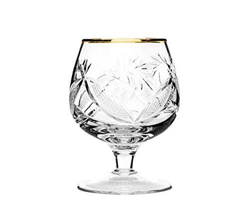 Set of 6 Neman Glassworks, 7-Oz Gold Rim Russian Vintage Crystal Cognac Snifters by Neman Glassworks (Image #2)