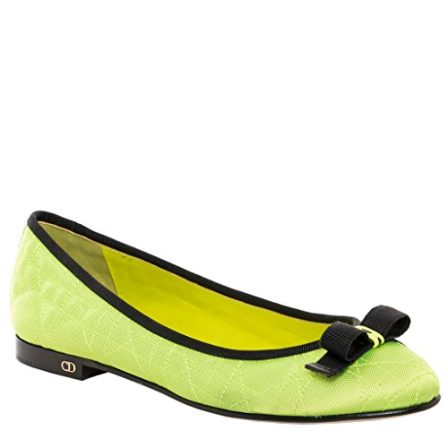 Christian Dior Women's Quilted 'My Dior' Ballerina Flats Fabric Green 41 M EU