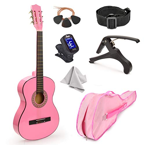 """30"""" Wood Guitar with Case and Accessories for Kids/Girls/Boys/Beginners (Pink)"""