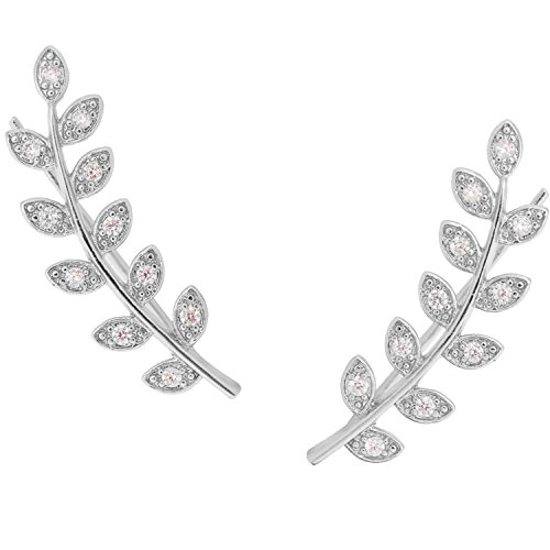 Tone Floral Earrings (Humble Chic Pave Leaf Crawlers - Tiny Floral CZ Stud Climber Ear Cuff Earrings, Silver-Tone)