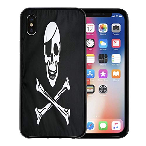 Emvency Phone Case for Apple iPhone Xs case,Jolly Pirate Flag Closeup Roger Skull Patch Eye Infringement for iPhone X Case,Rubber Border Protective Case,Black ()