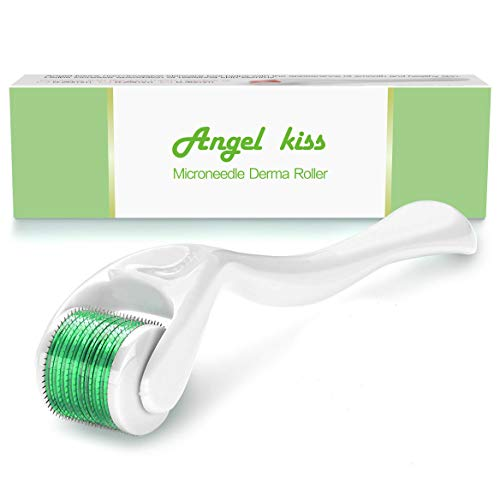 Microneedle Derma Roller 0.25mm - Angel Kiss Titanium Microneedling Dermaroller Cosmetic Needling Instrument,Microdermabrasion Facial Roller - Green