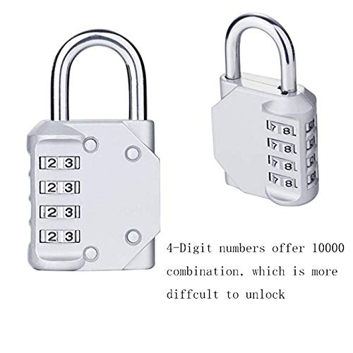 Combination Padlock, 4 Digit Combination Lock for School Gym Locker, Filing Cabinets, Sports Bag, Luggage, Backpack Bag, Toolbox, Suitcase Indoor and Outdoor Storage (2 Pack)