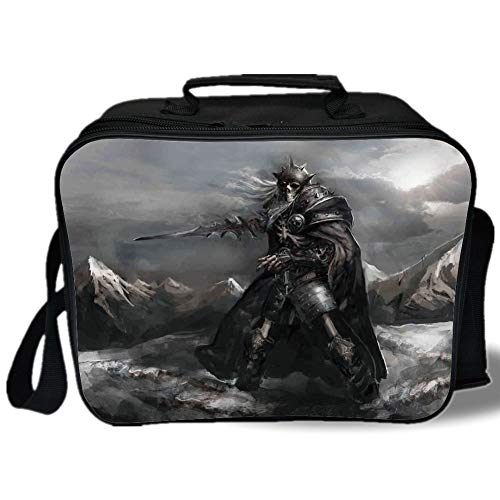 Fantasy World 3D Print Insulated Lunch Bag,Skeleton Soldier Skull in the War Area Holding Sword against the Enemy Winter Theme,for Work/School/Picnic,Grey