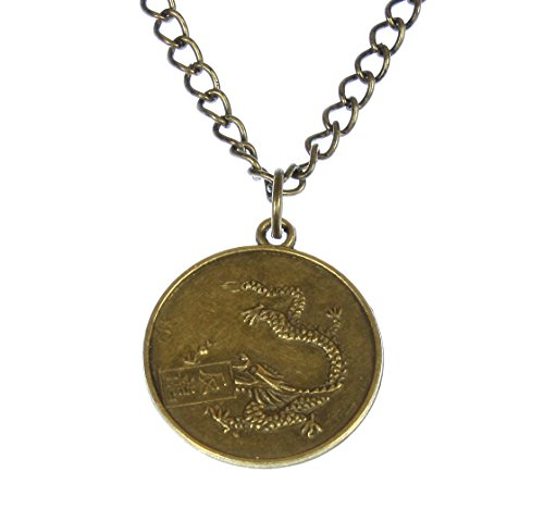 Style ARThouse Year of The Dragon, Chinese Zodiac Dragon Round Pendant on Chain; 20 Inches Adjustable (Year Dragon Zodiac)