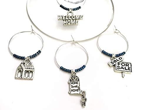 Housewarming Wine Charm Gift, Stock the Bar wine charms. Includes House, Home Sweet Home Door, Welcome Home, and Sold Sign. Set of 4. NAVY BEADS.