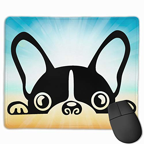 (Cute Large Mouse Pad with Animal Design Cartoon Dog French Boston Terrier Bulldog for Computer Office Gaming,11.8x9.8x0.09 Inch)
