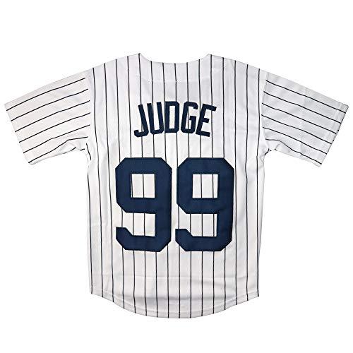 MarkICO Judge #99 Youth Kids Baseball Jersey Cool Base Home Jerseys (White, Youth Small 8)