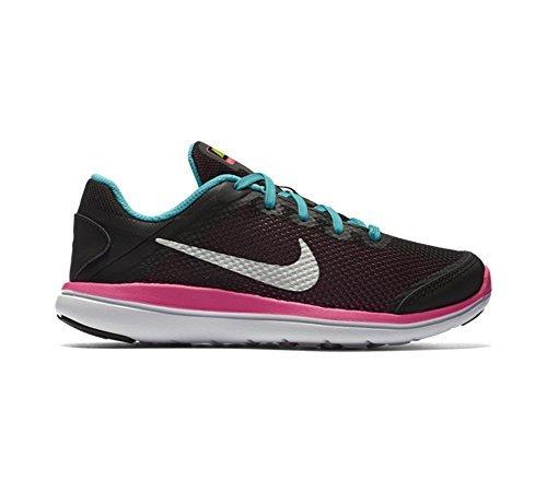 New Nike Girl's Flex 2016 RN Athletic Shoe Black/Gamma Blue 2.5 by NIKE