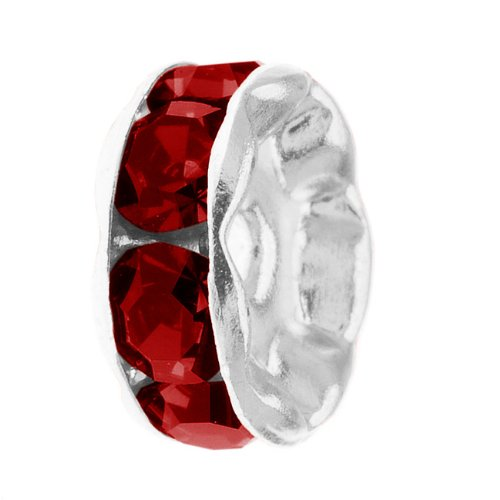 (Beadaholique Silver Plated 4-Piece Rondelle Beads with Siam Red Crystal Rhinestones, 6mm)