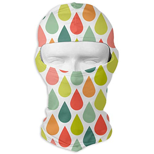 Colorful Happies Rains Men Women Balaclava Neck Hood Full Face Mask Hat Sunscreen Windproof Breathable Quick Drying White ()