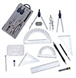 Drawing Tools & Drafting Kits for Students Divider Drawing Drafting Architecture 16Pc Compass Set Protractor and Compass Set Square Erasing Shield Ruler Mechanical Pen Gift in Math Set 8.5 oz