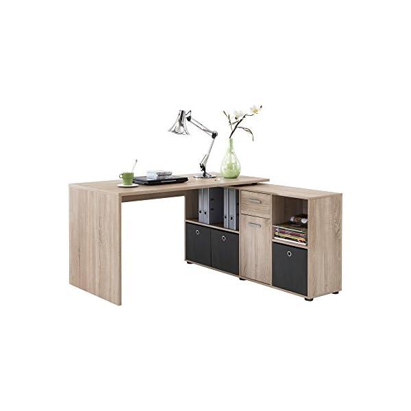 FMD 353-001_ei Lex Bureau Angulaire Réversible avec Quatre Compartiments Ouverts et Porte/Tiroir Bois Chêne 66,5 x 136 x…