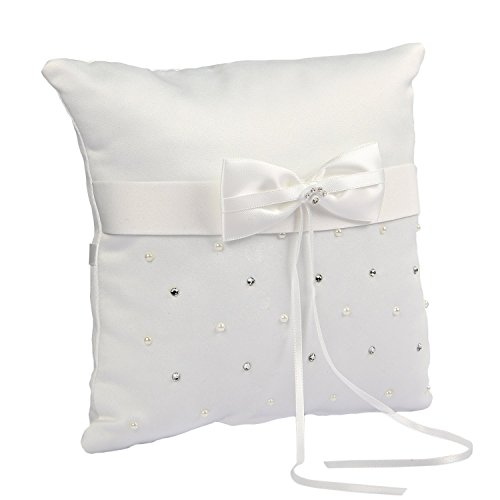 Somnr®  Elegant Scattered Seed Pearl Rhinestone Ring Bearer Pillow for Wedding Party Prom (White) by Somnr