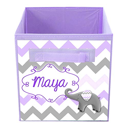 Toad and Lily Purple Elephant Chevron Bin Kid's Personalized Bedroom Baby Nursery Organizer for Toys or Clothing FB0196