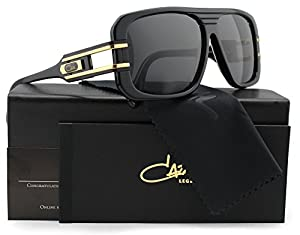 Cazal 658/3 Sunglasses Shiny Black with Gold w/Crystal Grey (001) 58mm Authentic