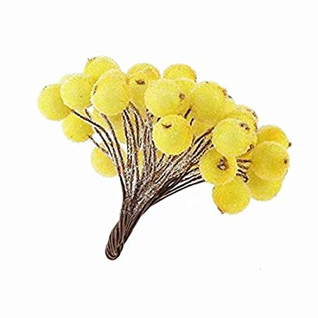 a Total of 5 Bundles) Pack of 200pcs Mini Christmas Frosted Fruit Berry Holly Artificial Flower Decor (A Bundle of 40 Berries