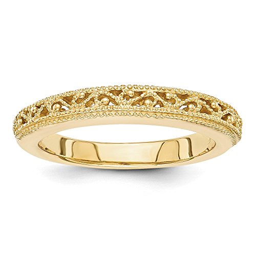 14k Yellow Gold Filigree Wedding Ring Band Size 7.00 Fancy Fine Jewelry Gifts For Women For Her