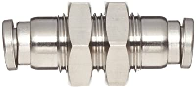 "SMC KQG2 Series Stainless Steel 316 Push-to-Connect Tube Fitting, Bulkhead Union, 1/4"" Tube OD x 1/2""-20 UNF"