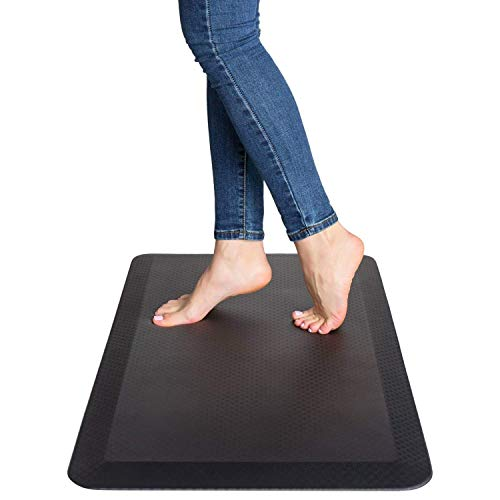Anti Fatigue Comfort Mat - Standing Desk Mat 20 x 39 x 3/4, Ergonomically Engineered - Perfect for Kitchen, Bathroom, Offices and Workstations, Non-Toxic, Waterproof (Black-brilliant)
