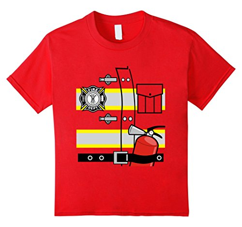 Kids Firefighter Uniform Halloween Costume Fireman T-shirt 6 Red